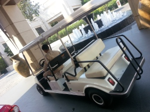Golf Buggy transporting guests to Central World