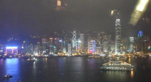 Night time panoramic view of Hong Kong Island