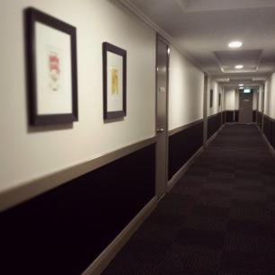 Hallway with new colour scheme and carpet tiles at Harmony Apartments