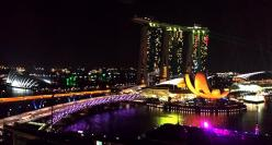 Marina Bay by night from Harbour Club Room MO Singapore
