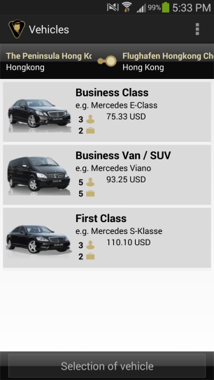 Blacklane app choosing vehicle type
