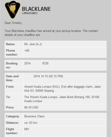 Blacklane email confirmation