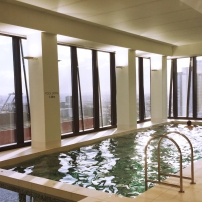 Indoor heated pool and spa on Level 33