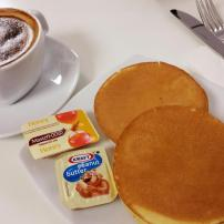 Pancakes at Virgin Australia Lounge