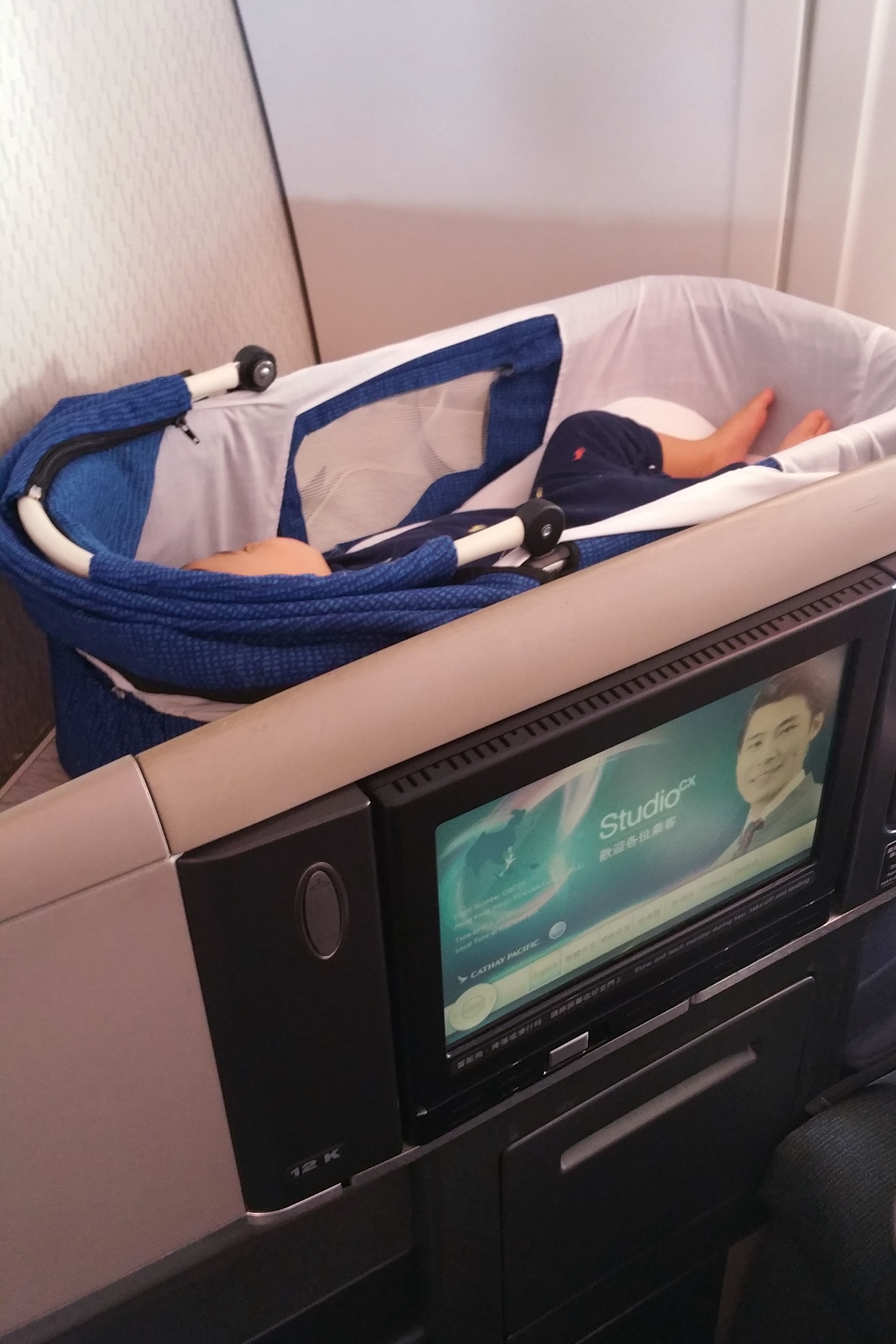 Cathay A340-300 Business Class_Bassinet and Seat