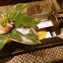 Jyubei Course #4: Snow crab and grapefruit served with a sword trick